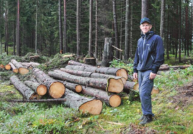 Ulf Bergqvist, en av grundarna och ägarna av Glottra, visar ett prydligt hygge.