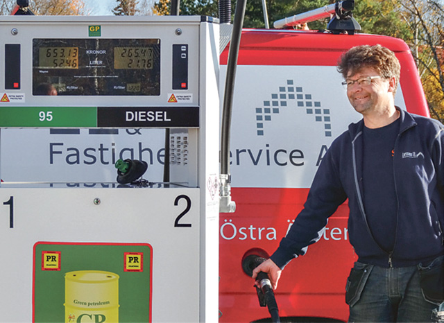 Tommy Larsson, Östra Ämtervik, är först ut någonsin att Gun och Lennart Möller har fyllt sin tank med diesel. Här står bilarna på kö. fylla diesel från en tank på orten.