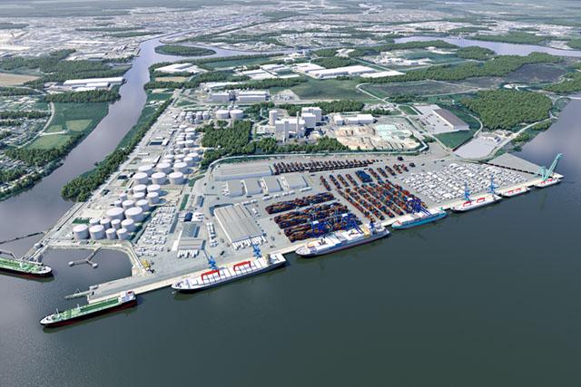 Framtidens mest effektiva hamn så som den är tänkt att se ut. Bild: NORRKÖPINGS HAMN