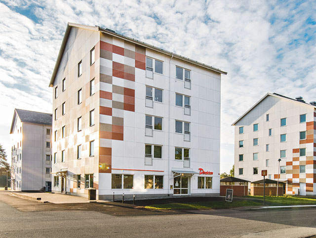 """""""Flöjten"""" är modulbyggda studentbostäder på Kronoparken i Karlstad. Bild: ANDREAS HYLTHÉN"""