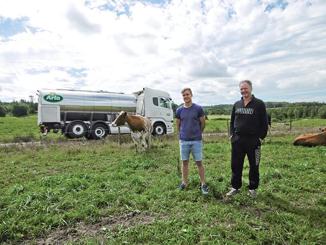 Martin och Tommy ute i kohagen. En välmående kossa ser på när mjölkbilen kommer för upphämtning.